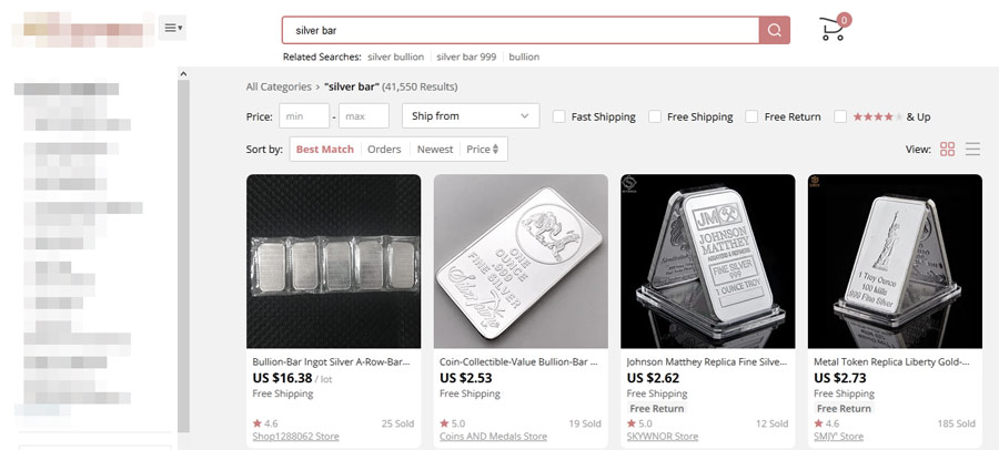 fake silver bars on open sale online
